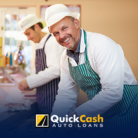 A very satisfied butcher with the outcome of a Miami auto title loan